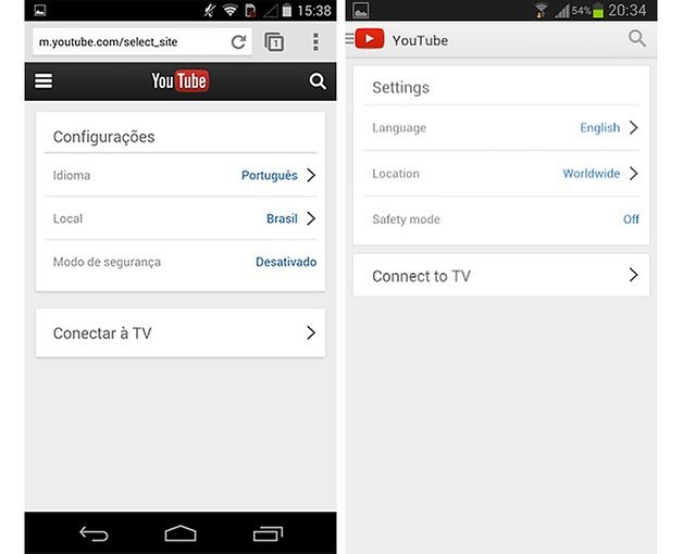 Youtube web mobile versao