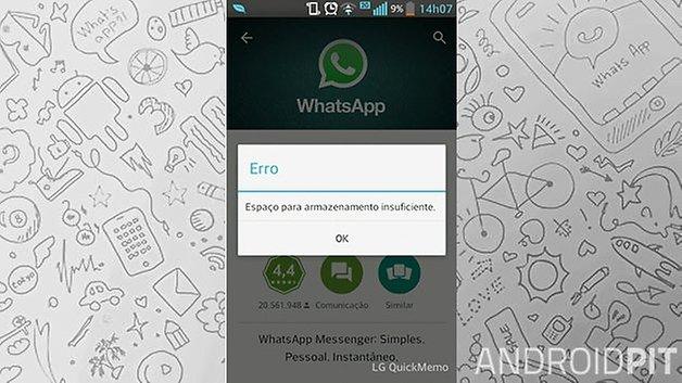 androidpit whatsapp erro memoria instalacao