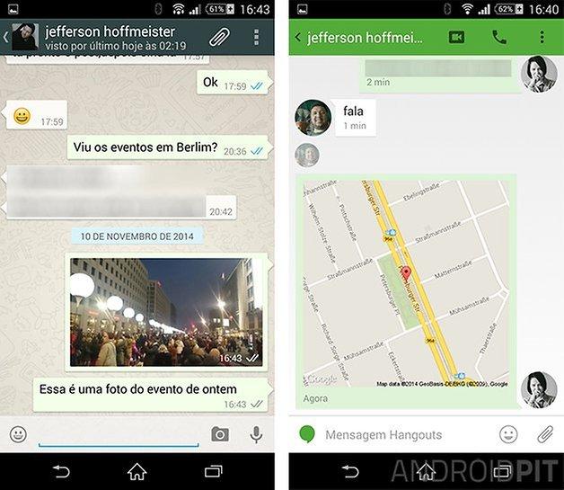 comparacao hangouts whatsapp