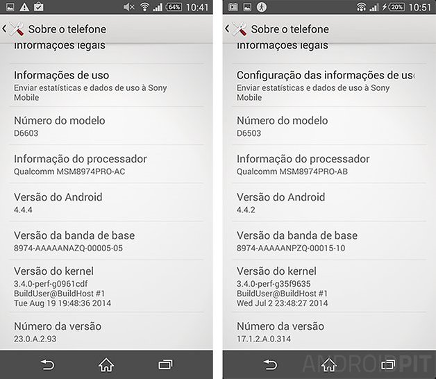 comparacao z3 z2 android