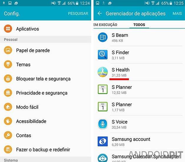 desativar apps android tamanho
