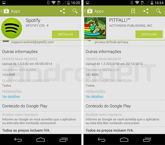descricao informacao apps play store