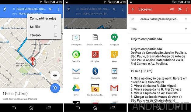 google maps compartilhar rotas