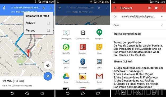 google maps compartilhar rotas