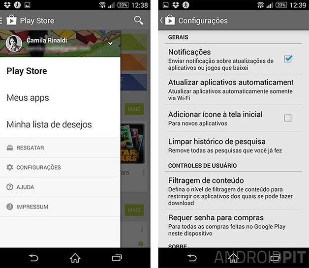 google play store asndroid atalho apps