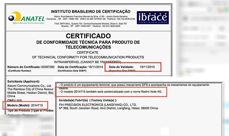 anatel redmi note brasil