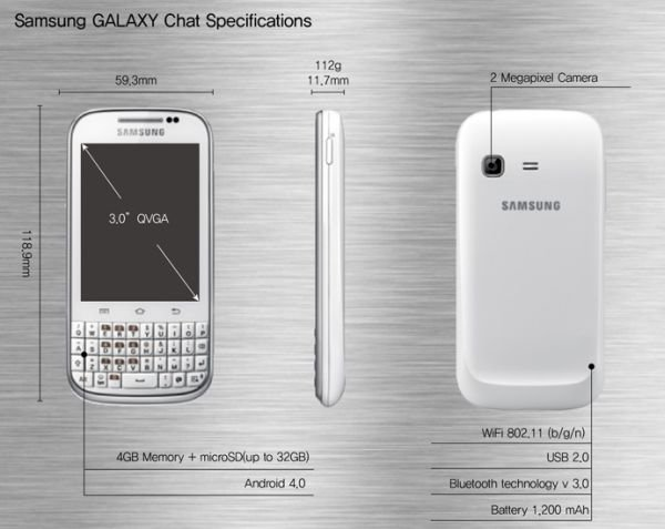 specifiche samsung galaxy chat