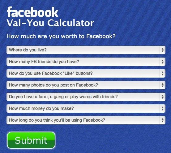 calcolatore valore utente facebook