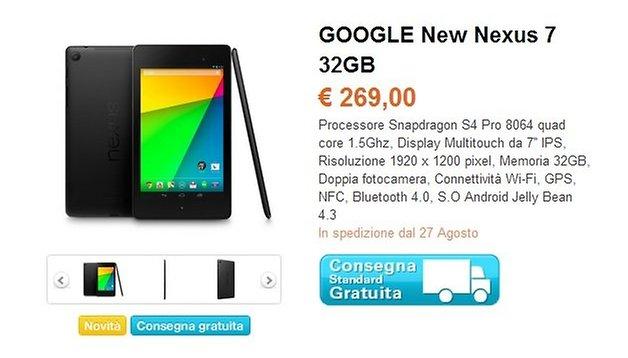 Nexus 7 2013, prezzo di 269 euro e consegne dal 27 agosto