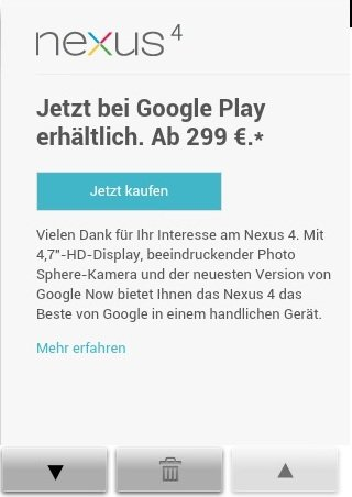 nexus 4 disponibilità