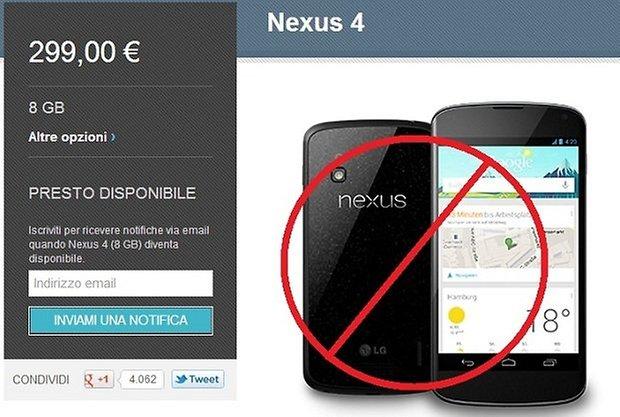 nexus 4 no italia