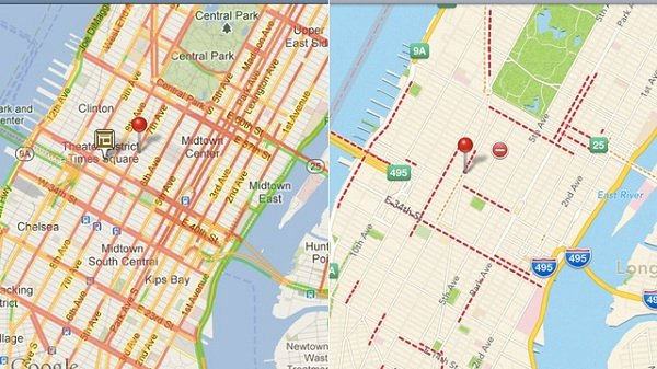 apple maps contro google maps traffico