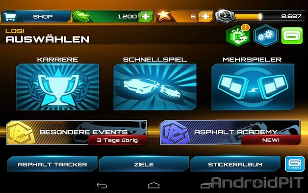 asphalt 7 heat menu