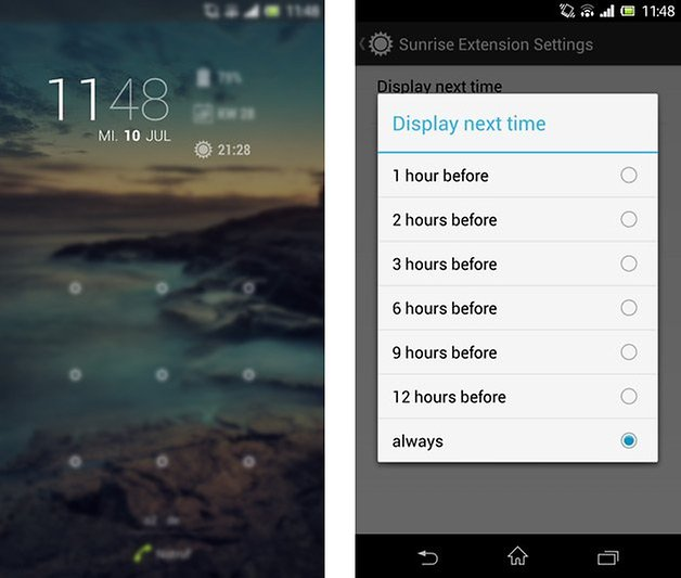 dashclock widget sunrise