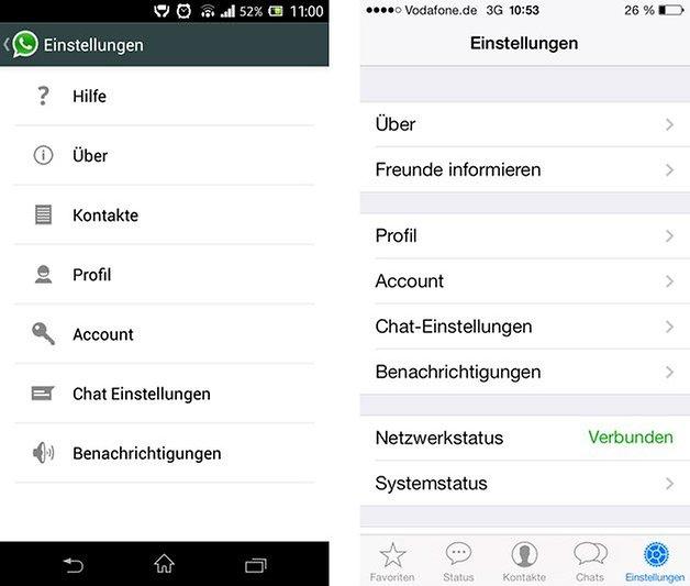 Einstellungen Android iOS