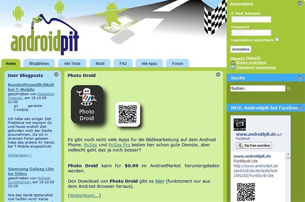 androidpit homepage 2009