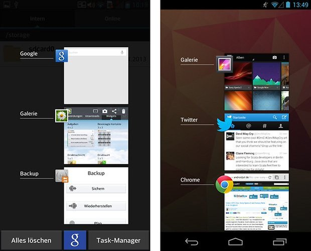 optimus android offene apps