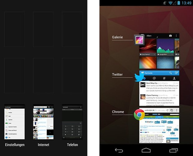 sense android offene apps