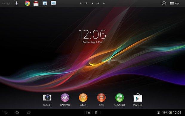 xperia tablet z homescreen