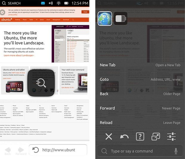 ubuntu touch context menu