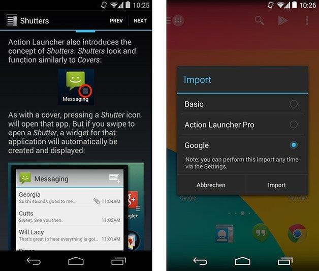 action launcher pro tutorial import