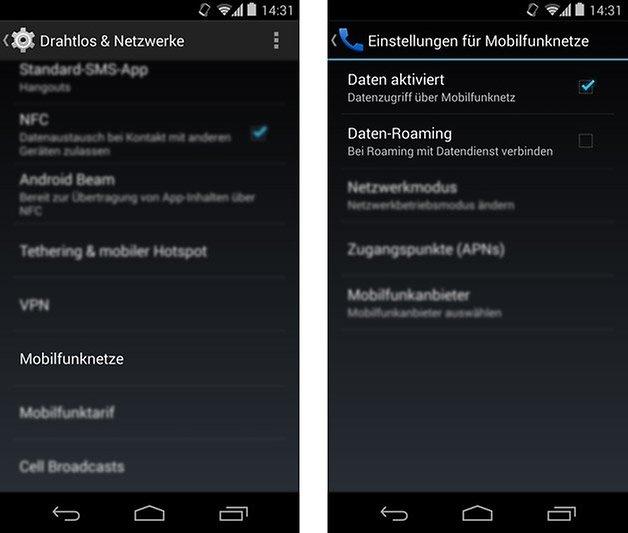 android einstellungen daten roaming