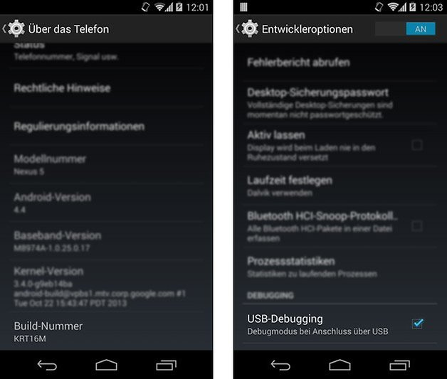 android entwickleroptionen usb debugging