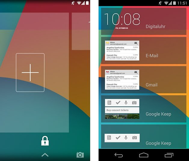 android kitkat lockscreen widget