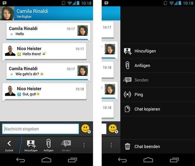 bbm chat optionen