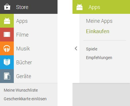 google play store menus