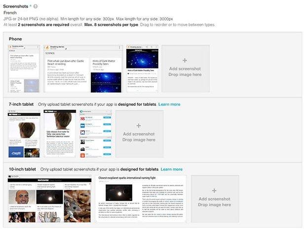 google play tablet screenshots upload
