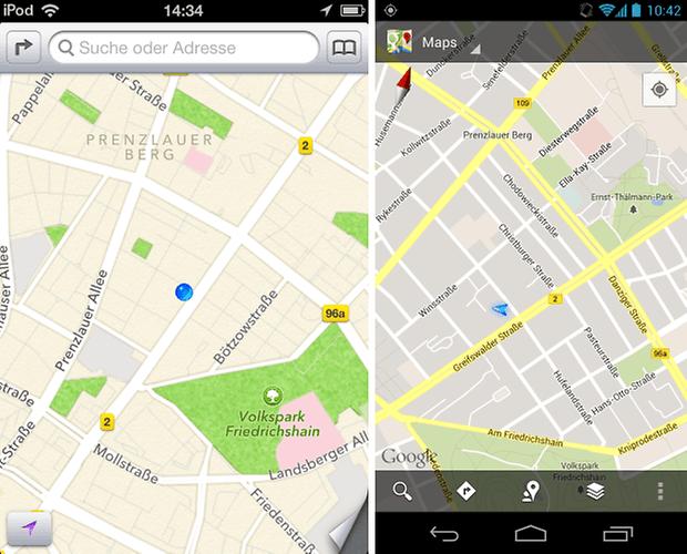 apple maps contro google maps