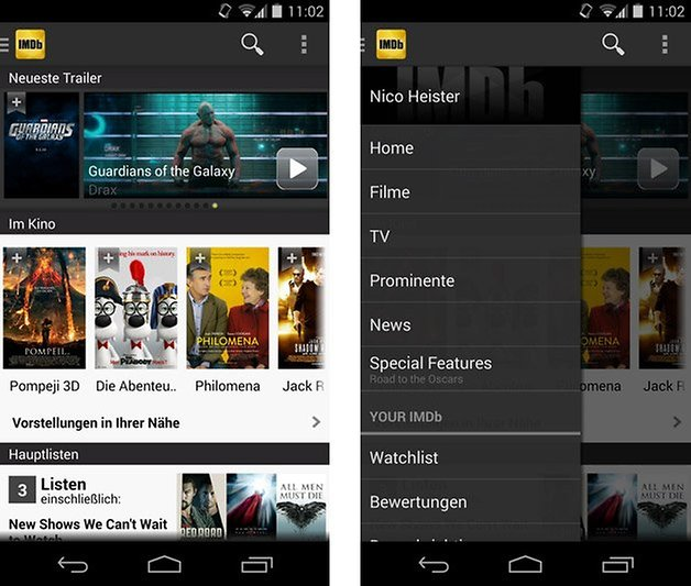 imdb app beta home menu