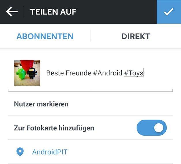 instagram android teilen standort hashtags