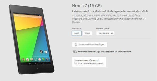 nexus 7 2013 play store optionen
