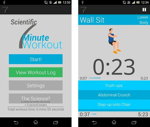 scientific seven minute workout screen start einheiten