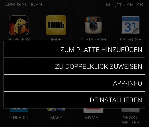 sicksky app optionen