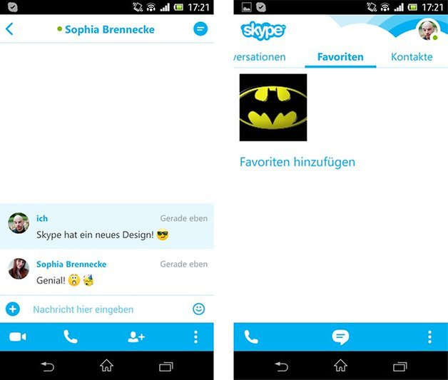 skype chat favoriten