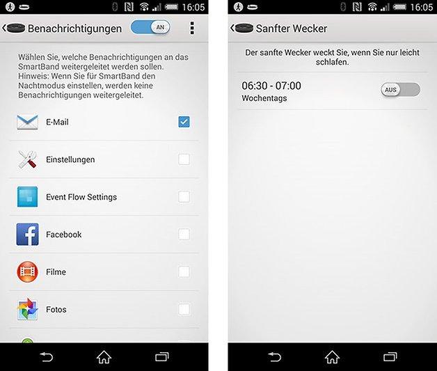 smartband app einstellungen benachrichtigungen sanfter wecker
