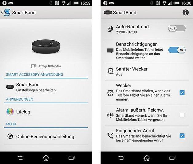 smartband app einstellungen