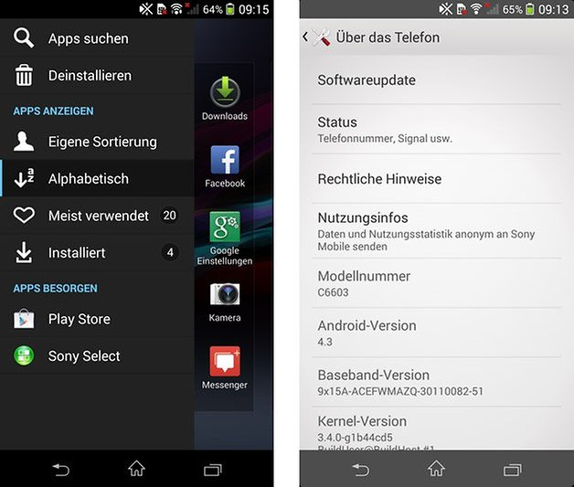 xperia z android 4 3 app drawer menu systeminfos