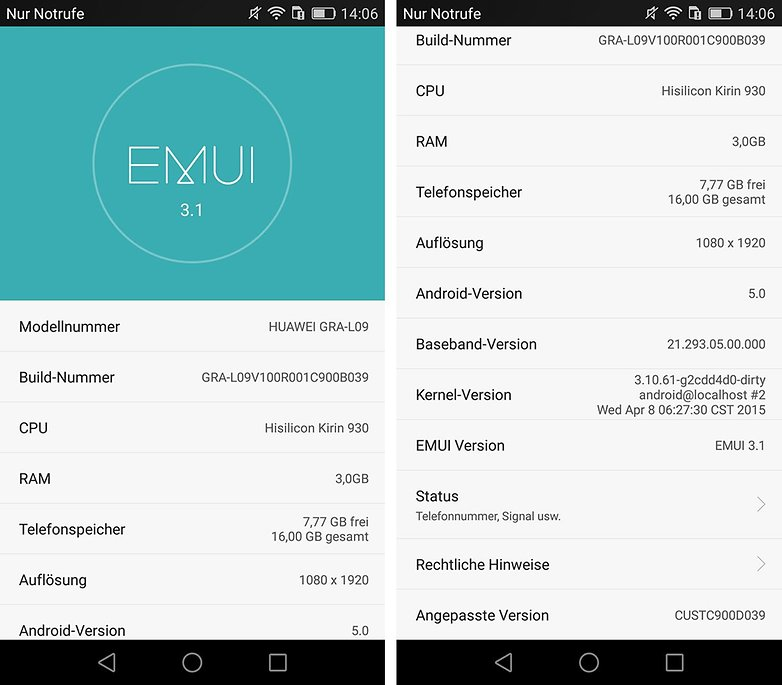 huawei p8 software informationen