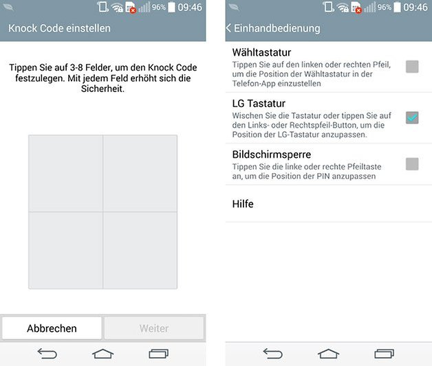 optimus ui knock code einhandbedienung