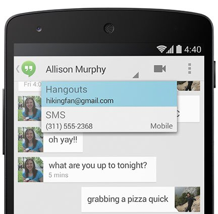 android 4 4 kitkat hangouts