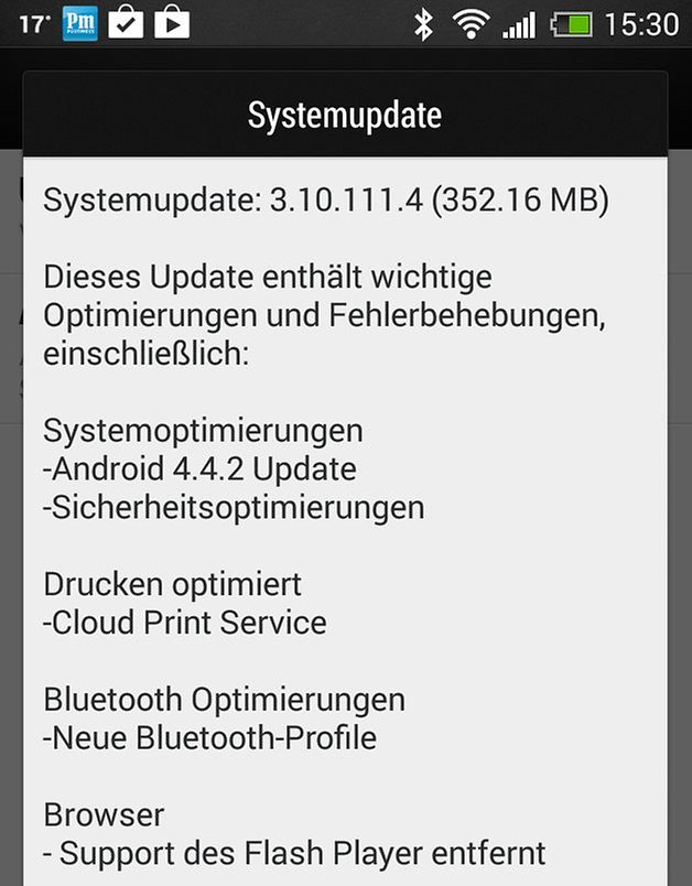 htc one mini update screenshot