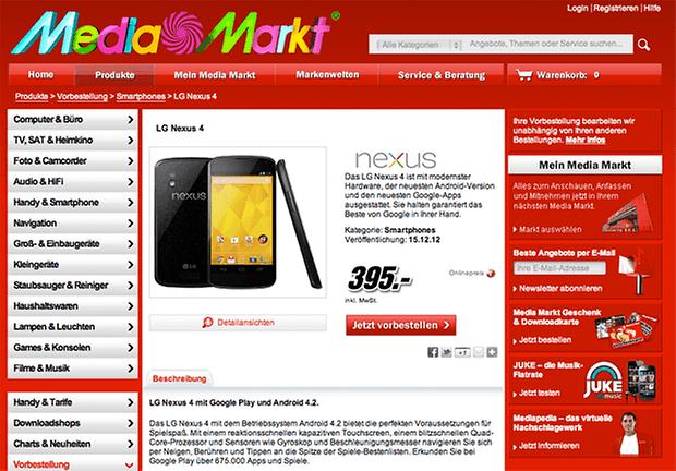 nexus 4 ab 15 dezember f r 395 euro bei media markt androidpit. Black Bedroom Furniture Sets. Home Design Ideas