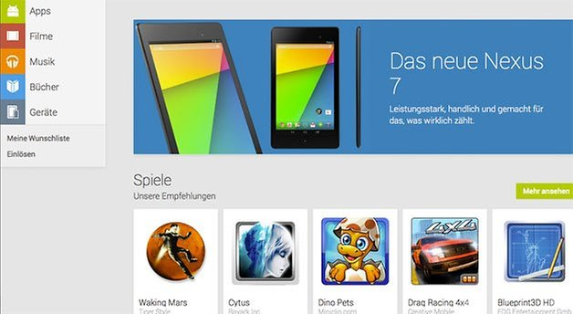 nexus 7 neu play store