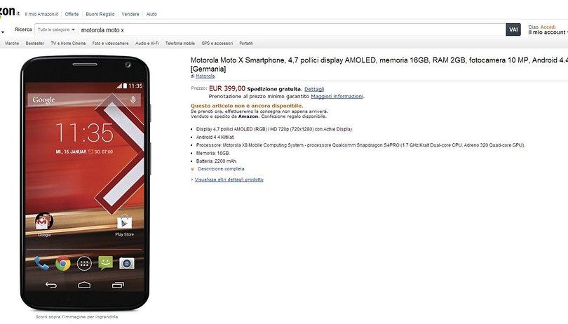 Moto X disponibile al preordine su Amazon.it