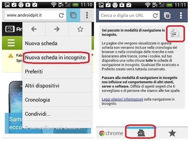 Come cancellare la cronologia di google chrome su android - Finestra in incognito ...
