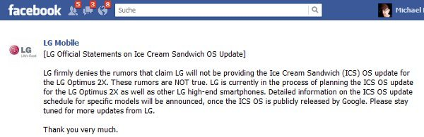 LG Ice Cream Sandwich Update Facebook Screen Shot